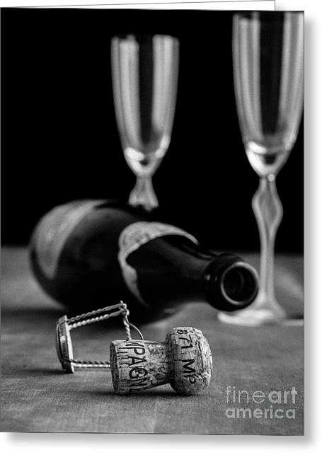 Fizz Greeting Cards - Champagne Bottle Still Life Greeting Card by Edward Fielding