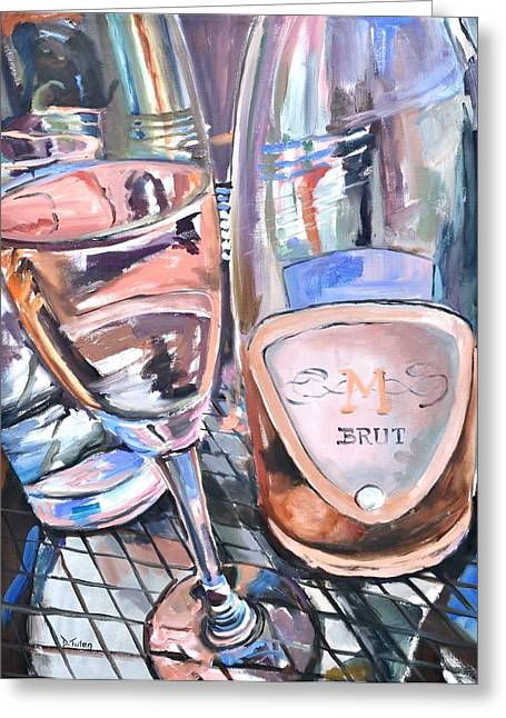 Table Wine Greeting Cards - Champagne Brunch Greeting Card by Donna Tuten