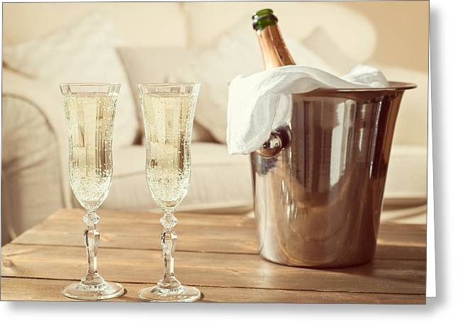 Champagne Glasses Greeting Cards - Champagne Celebration Greeting Card by Amanda And Christopher Elwell
