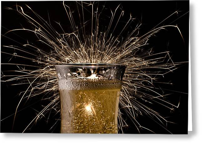 Champagne Glasses Greeting Cards - Champagne Celebration Greeting Card by Janna Scott