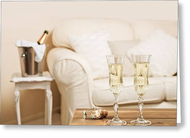 Champagne Glasses Greeting Cards - Champagne Greeting Card by Amanda And Christopher Elwell