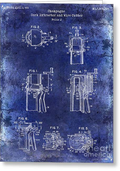 Napa Valley Vineyard Greeting Cards - Champagne  Cork Extractor and Wire Cutter Patent Drawing Blue Greeting Card by Jon Neidert