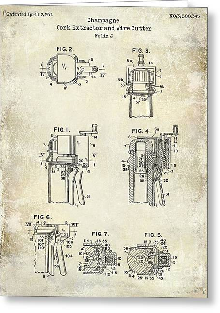 Champagne  Cork Extractor And Wire Cutter Patent Drawing Greeting Card by Jon Neidert