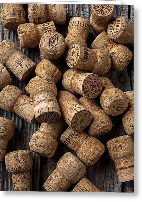 Stopper Photographs Greeting Cards - Champagne corks Greeting Card by Garry Gay