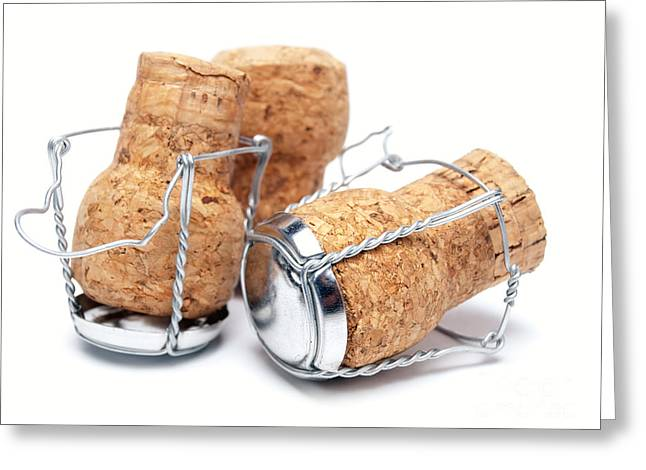 Bottle Cap Greeting Cards - Champagne corks Greeting Card by Sinisa Botas