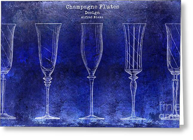 Champagne Glasses Greeting Cards - Champagne Flutes Design Patent Drawing Blue Greeting Card by Jon Neidert