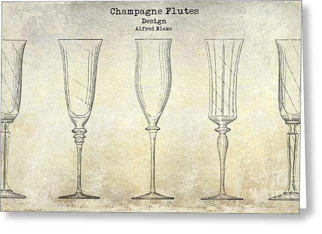 Champagne Glasses Greeting Cards - Champagne Flutes Design Patent Drawing Greeting Card by Jon Neidert