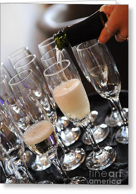 Wine Pouring Greeting Cards - Champagne Flutes Greeting Card by Paul Clavel