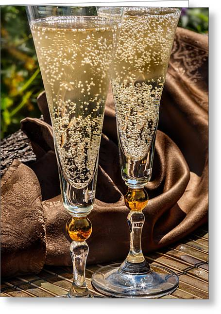 Champagne For Two Greeting Card by Iris Richardson