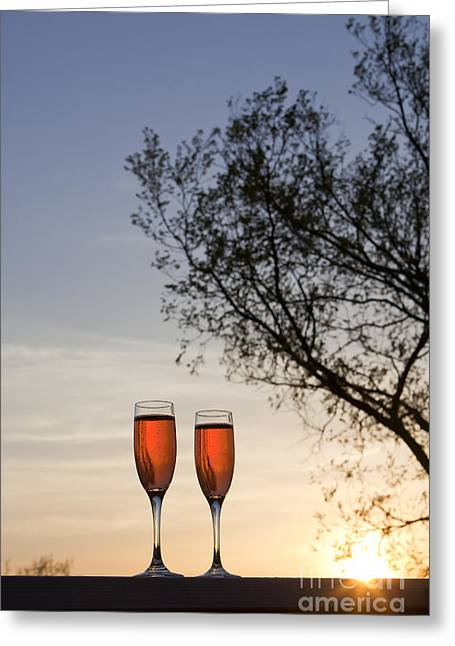 Sunflare Greeting Cards - Champagne for Two Greeting Card by Kay Pickens