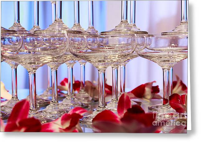 Banquet Glass Art Greeting Cards - Champagne Glass Greeting Card by Niphon Chanthana