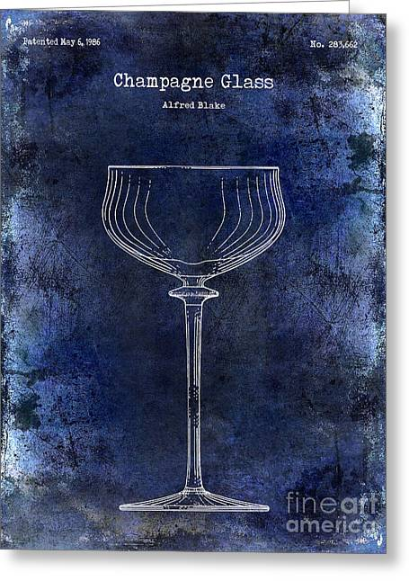 Champagne Glasses Greeting Cards - Champagne Glass Patent Drawing Blue 2 Greeting Card by Jon Neidert