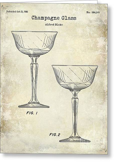 Champagne Glasses Greeting Cards - Champagne Glass Patent Drawing Greeting Card by Jon Neidert