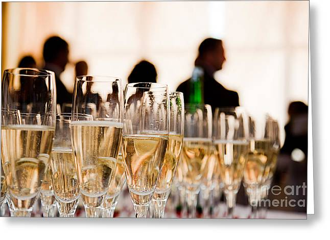 Champagne Glasses At The Party Greeting Card by Michal Bednarek