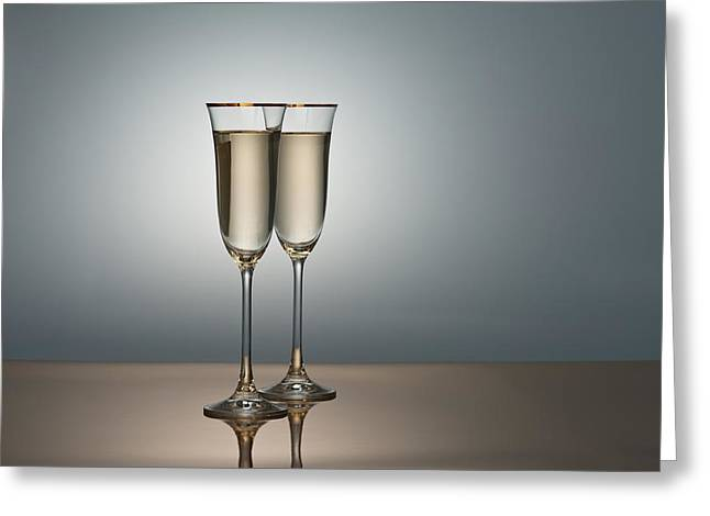 Sparkling Wine Greeting Cards - Champagne Glasses Greeting Card by Ulrich Schade