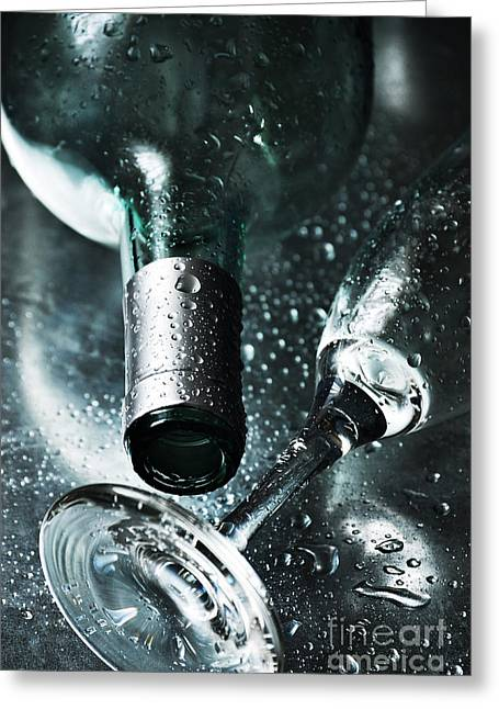 New Year Greeting Cards - Champagne Greeting Card by HD Connelly
