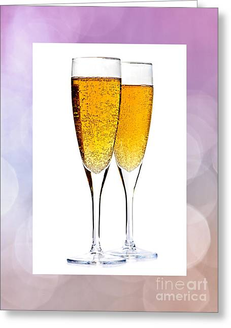 Champagne Glasses Greeting Cards - Champagne in glasses Greeting Card by Elena Elisseeva