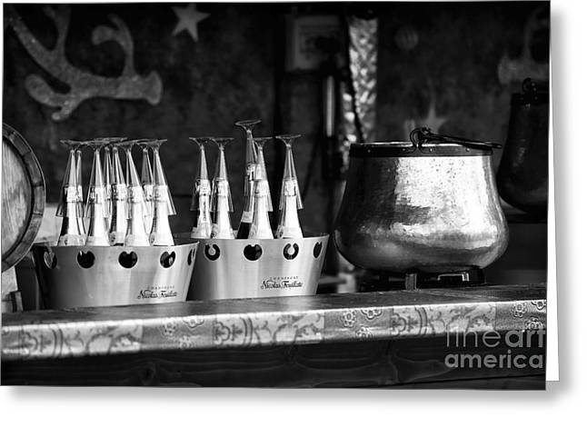 Champagne Glasses Greeting Cards - Champagne in Paris Greeting Card by John Rizzuto
