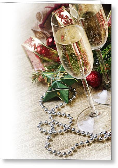 Beverage Pyrography Greeting Cards - Champagne Greeting Card by Jelena Jovanovic