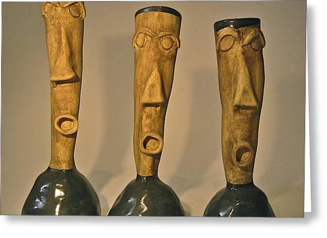 Face Ceramics Greeting Cards - Champagne Greeting Card by Mario Perron