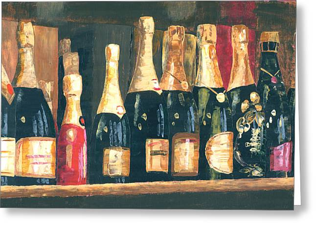 Bubbly Paintings Greeting Cards - Champagne Row Greeting Card by Will Enns