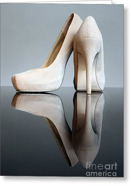 Champagne Stiletto Shoes Greeting Card by Terri Waters