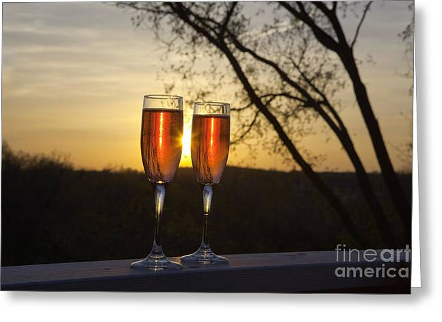Champagne Glasses Greeting Cards - Champagne Sunset Greeting Card by Kay Pickens