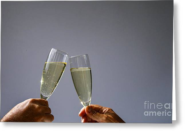 Champagne Toast Greeting Card by Patricia Hofmeester