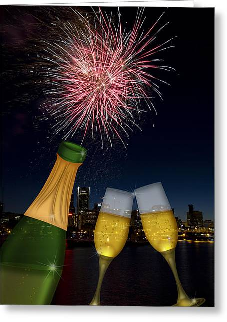Recently Sold -  - 4th July Digital Art Greeting Cards - Champagne Toast with Portland Oregon Skyline Greeting Card by JPLDesigns