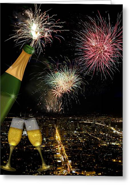 4th July Digital Art Greeting Cards - Champagne Toast with San Francisco Skyline at Night Greeting Card by JPLDesigns