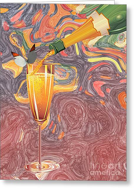 Champagne Glasses Greeting Cards - Champagne VAN GOGH  Greeting Card by Liane Wright