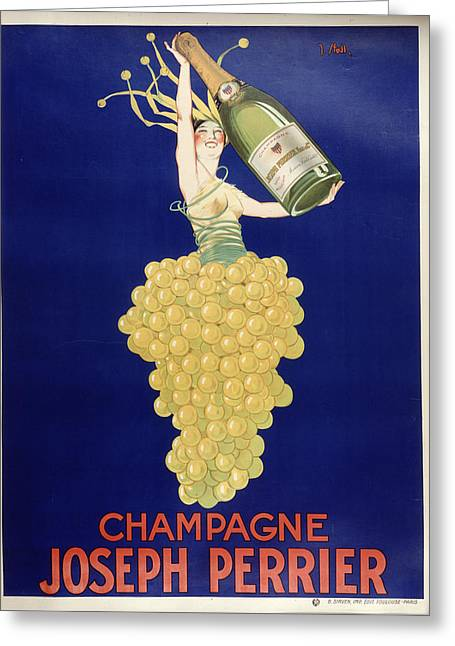 Champagne Greeting Card by Vintage Images