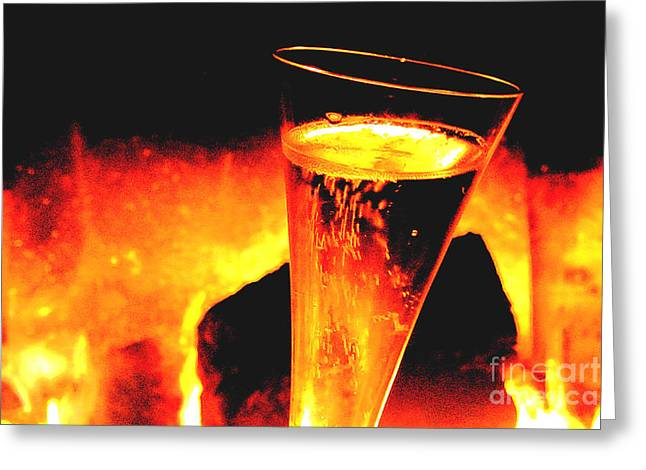 Champagne Wishes Greeting Card by Jerome Stumphauzer