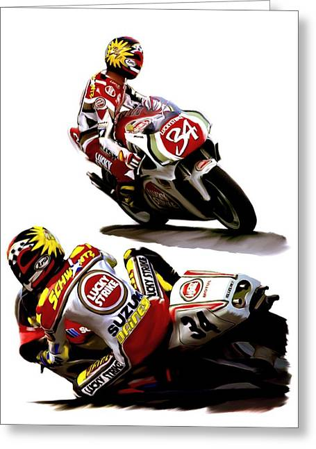 Main Street Drawings Greeting Cards - Champion 34  Kevin Schwantz Greeting Card by Iconic Images Art Gallery David Pucciarelli