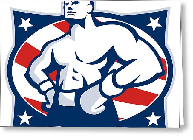 Boxer Digital Greeting Cards - Champion American Boxer Akimbo Retro Greeting Card by Aloysius Patrimonio