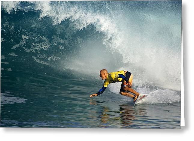 Kelly Slater Greeting Cards - Champion at Pipeline Masters  Greeting Card by Kevin Smith