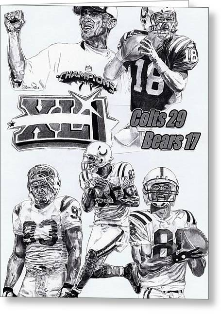 Pro Football Drawings Greeting Cards - Champion Colts Greeting Card by Jonathan Tooley