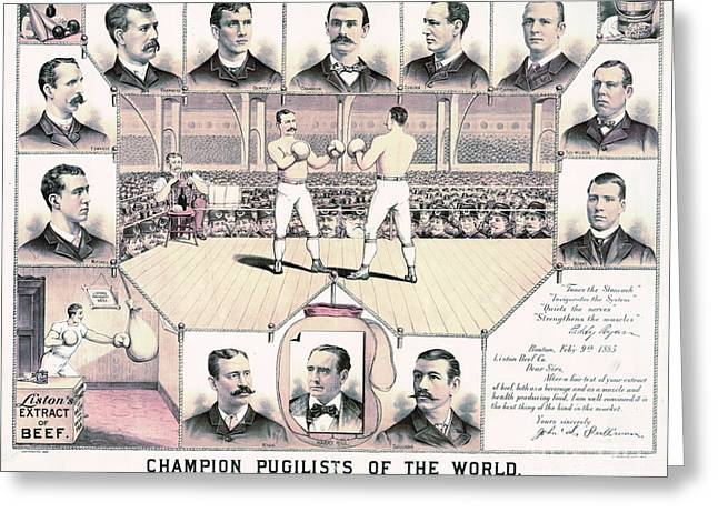 Champion Pugilists 1885 Greeting Card by Padre Art