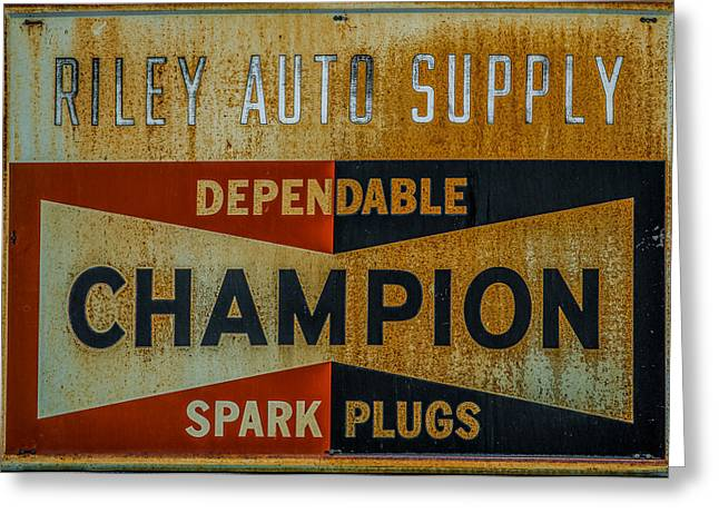Small Town Life Greeting Cards - Champion Spark Plug Sign Greeting Card by Paul Freidlund