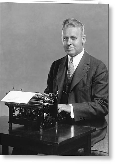 World Speed Record Greeting Cards - Champion Speed Typist Greeting Card by Underwood Archives