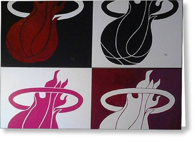 Miami Heat Greeting Cards - Champions Four Panels Greeting Card by Dawn Art