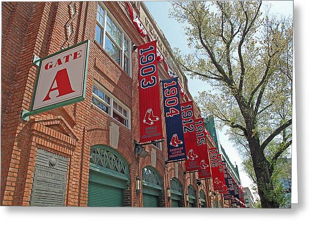 Red Sox Nation Greeting Cards - Championship Banners Greeting Card by Barbara McDevitt