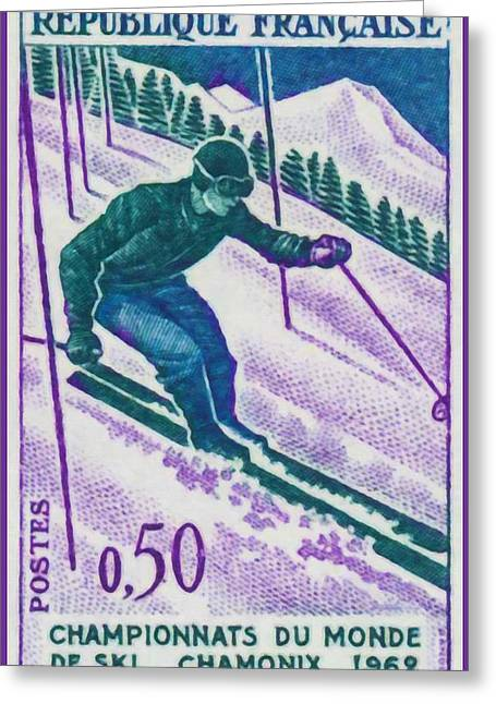 Skiing Prints Paintings Greeting Cards - Championships Chamonix Ski World 1962 Greeting Card by Lanjee Chee