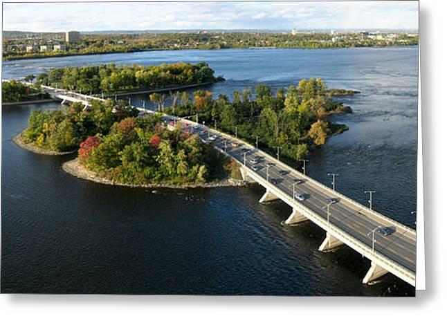 Aerial View Greeting Cards - Champlain Bridge Aerial Panorama Greeting Card by Rob Huntley