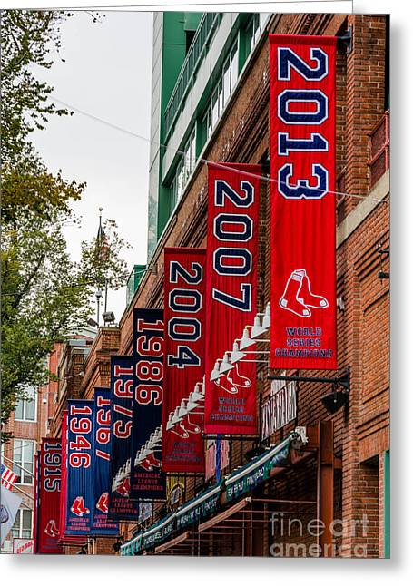 Best Sellers -  - Fenway Park Greeting Cards - Champs Again Greeting Card by Mike Ste Marie