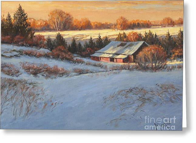 Artiste Quebecois Du Canada Greeting Cards - Champs dhiver Greeting Card by Pierre Morin