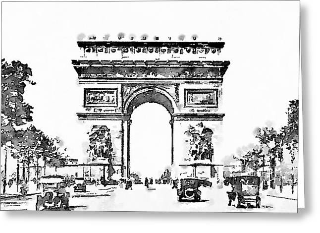 Elysian Greeting Cards - Champs Elysees 1920 Greeting Card by Helge