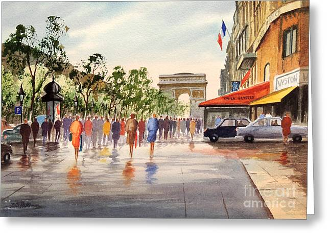 Champs Elysees And Arc De Triomphe Greeting Card by Bill Holkham