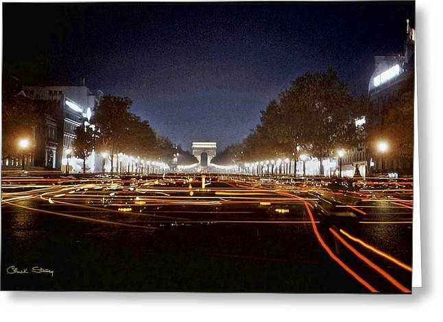 Champs Greeting Cards - Champs Elysees at Night Greeting Card by Chuck Staley
