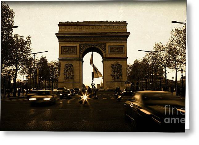 Champs Greeting Cards - Champs Elysees in Paris France at Dusk with Rushing Cars in fron Greeting Card by ELITE IMAGE photography By Chad McDermott